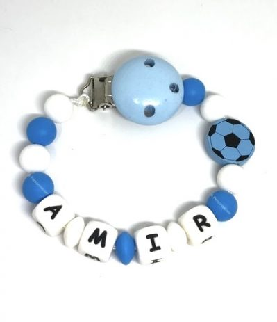 attache tetine football OM bleu blanc silicone Amir ballon