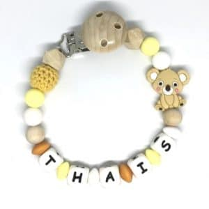 attache tetine koala personnalisee thais jaune orange