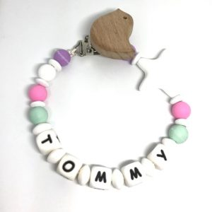 accroche tetine rose etoile violette tommy turquoise