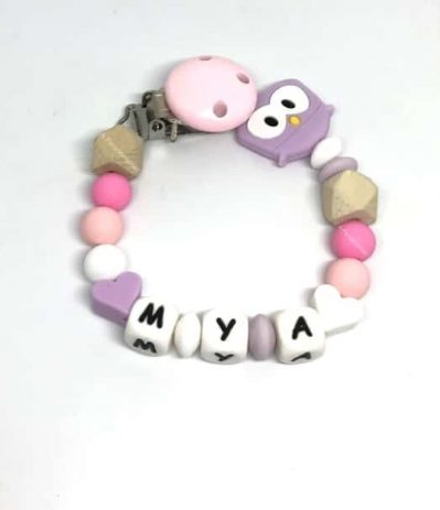 attche tetine personnalisee hibou mya violette rose