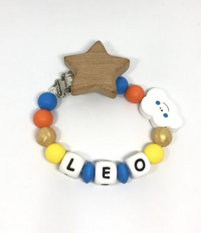 attache sucette leo nuage jaune bleu orange