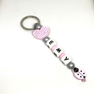 porte cles rose coeur argent emy coccinelle personnalisee