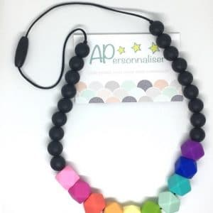 collier de dentition arc en ciel noir silicone