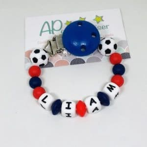 accroche tétine Paris Saint Germain football bleu rouge